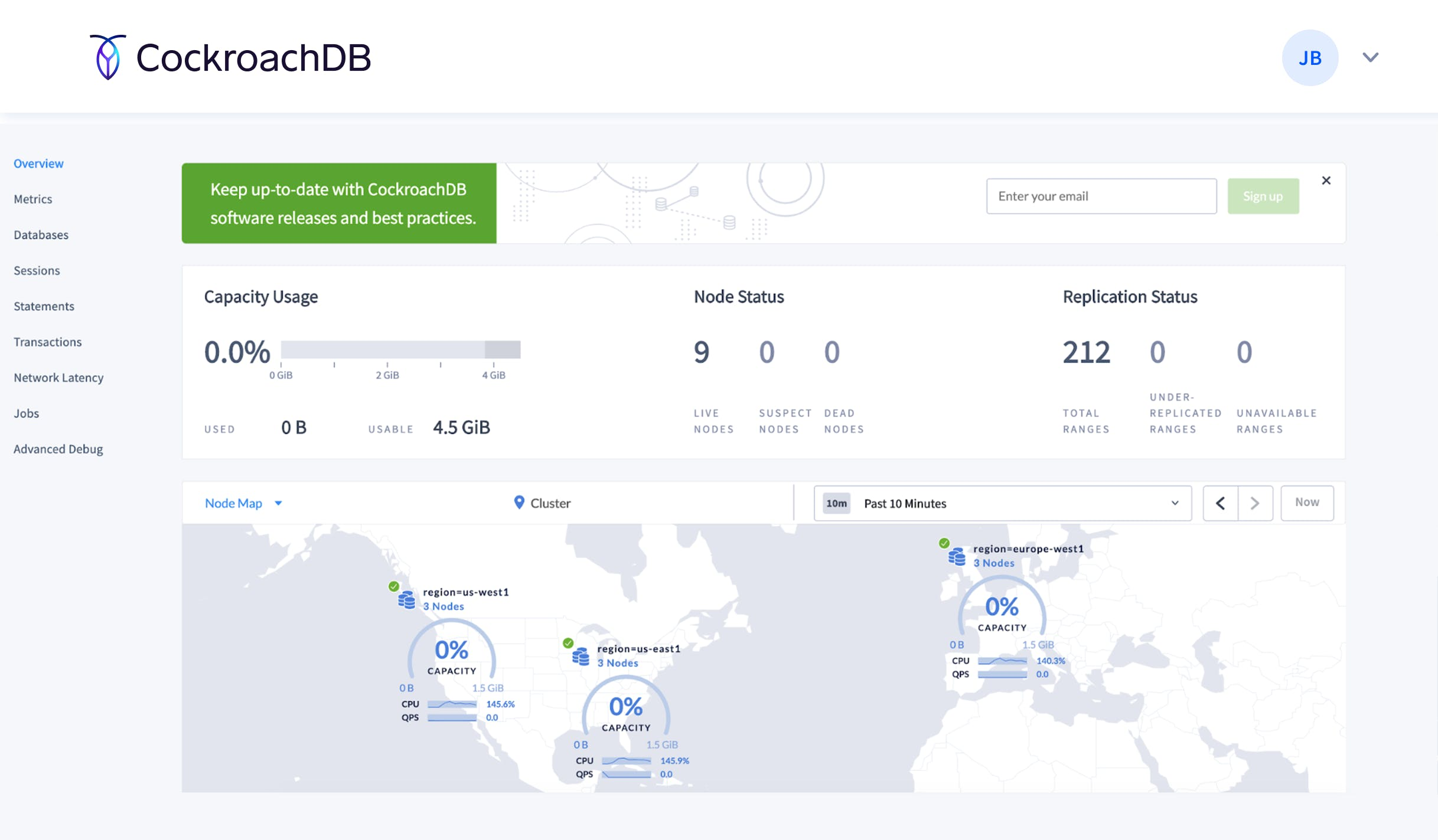 Cockroach DB Console cluster overview