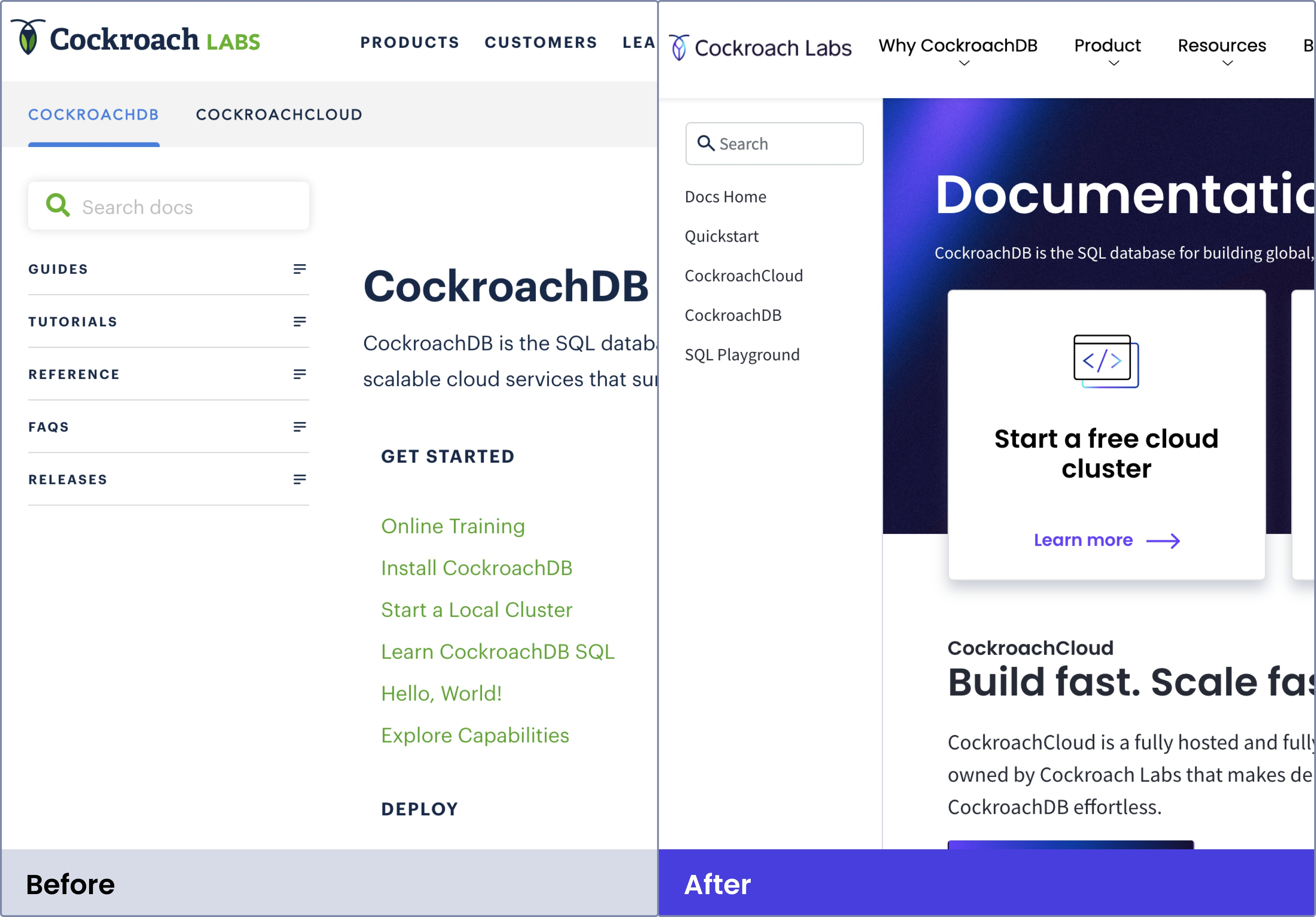CockroachDB Docs site before and after navigation improvements