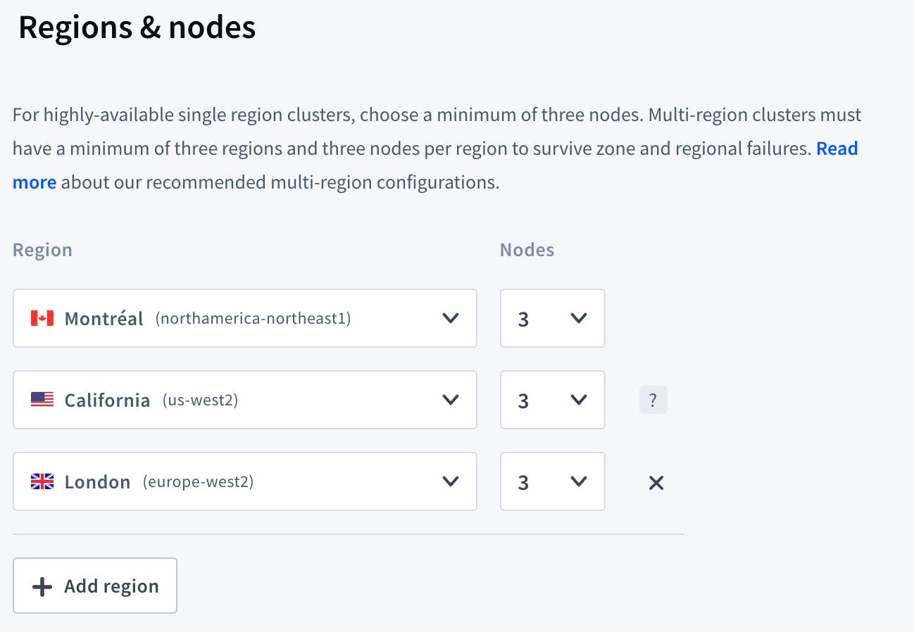 cockroachcloud choose regions and nodes