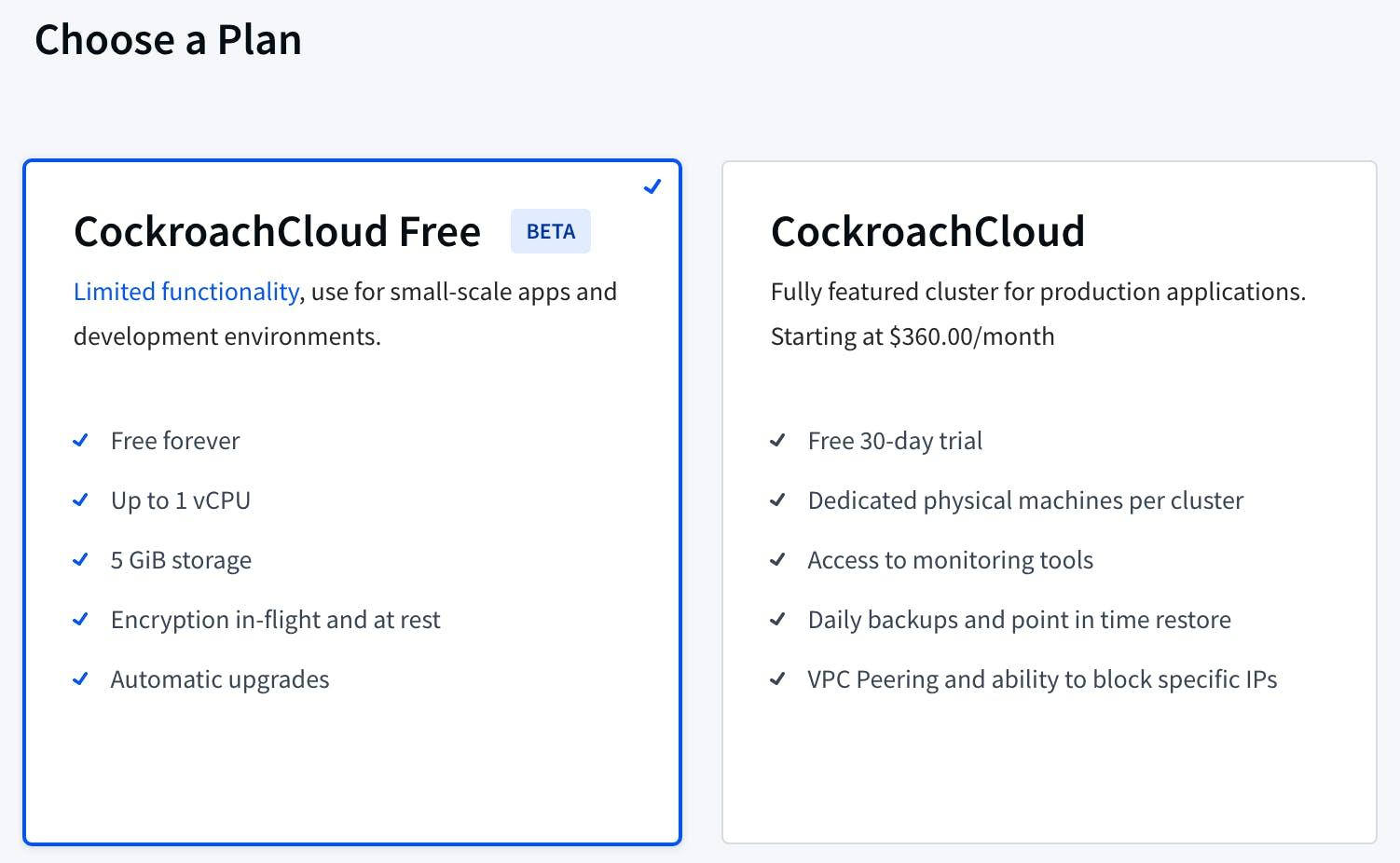 choose a cockroachcloud plan