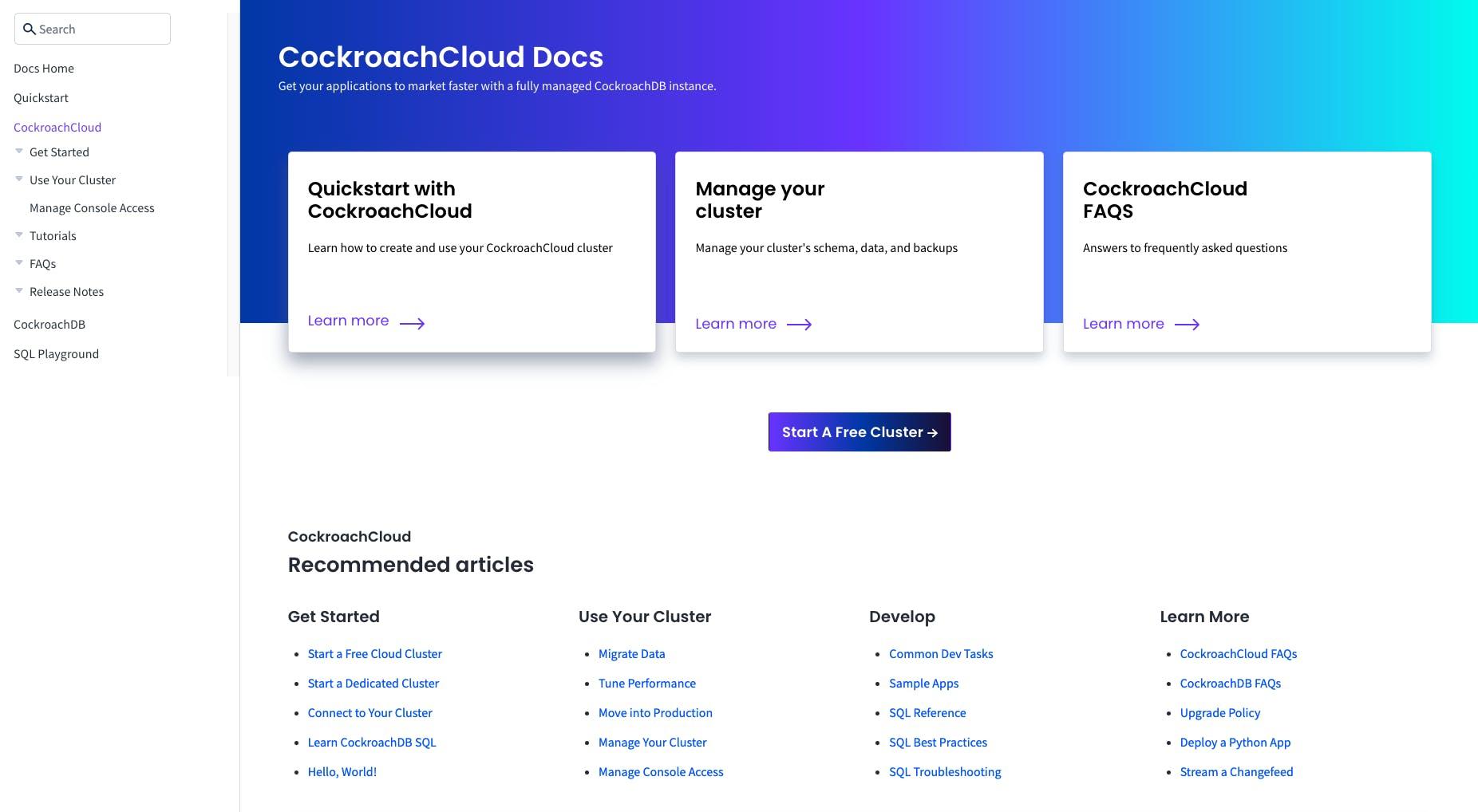 CockroachDB Dedicated Docs
